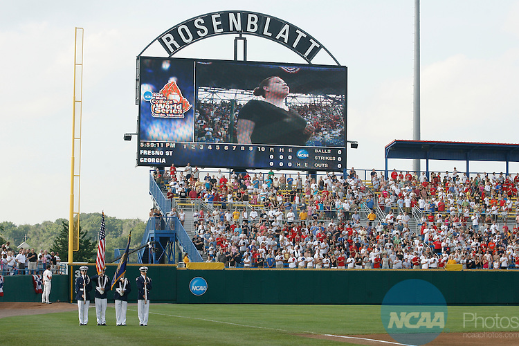 25 JUNE 2008:  Fresno State University takes on the University of Georgia during the Division I Men's Baseball Championship held at Rosenblatt Stadium in Omaha, NE.  Jamie Schwaberow/NCAA Photos