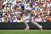 25 May 2008: New York Mets shortstop Jose Reyes runs towards 2nd base during a game against the Colorado Rockies. The Rockies defeated the Mets 4-1 at Coors Field in Denver, Colorado. FOR EDITORIAL USE ONLY.
