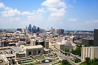 The view of the Kansas City skyline from the tower at the National World War One Museum in Kansas City, Missouri on June 17, 2007. Union Station is in the foreground with the historic Western Auto building to the right. In the distance you can see Bartle Hall on the left and the Sprint Center in front of the downtown buildings.