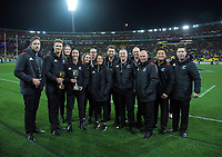 The NZ men's and women's Sevens teams with the world cup trophies before the Rugby Championship match between the New Zealand All Blacks and South Africa Springboks at Westpac Stadium in Wellington, New Zealand on Saturday, 15 September 2018. Photo: Dave Lintott / lintottphoto.co.nz