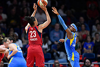 Washington, DC - September 8, 2019: Washington Mystics forward Aerial Powers (23) shoots a jumpshot over Chicago Sky guard Diamond DeShields (1) during game between the Chicago Sky and Washington Mystics at the Entertainment and Sports Arena in Washington, DC. The Mystics locked up the #1 seed in the Playoffs by defeating the Sky 100-86. (Photo by Phil Peters/Media Images International)