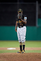 West Virginia Black Bears relief pitcher Juan Henriquez (58) looks in for the sign during a game against the Batavia Muckdogs on July 2, 2018 at Dwyer Stadium in Batavia, New York.  West Virginia defeated Batavia 3-1.  (Mike Janes/Four Seam Images)