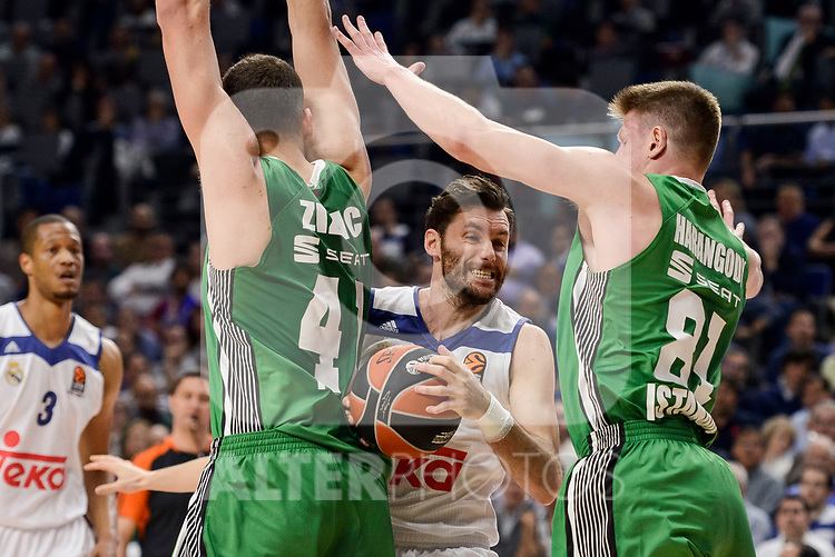 Real Madrid's Rudy Fernandez and Darussafaka Dogus's Ante Zizic and Luke Harangody during quarter final of Turkish Airlines Euroleague match between Real Madrid and Darussafaka Dogus at Wizink Center in Madrid, April 20, 2017. Spain.<br /> (ALTERPHOTOS/BorjaB.Hojas)