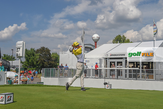 Rafael Cabrera Bello (ESP) watches his tee shot on 17 during 2nd round of the World Golf Championships - Bridgestone Invitational, at the Firestone Country Club, Akron, Ohio. 8/3/2018.<br /> Picture: Golffile | Ken Murray<br /> <br /> <br /> All photo usage must carry mandatory copyright credit (© Golffile | Ken Murray)