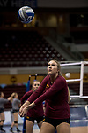 GRAND RAPIDS, MI - NOVEMBER 18: Members of Claremont-Mudd-Scripps volleyball team warm-up the Division III Women's Volleyball Championship held at Van Noord Arena on November 18, 2017 in Grand Rapids, Michigan. Claremont-M-S defeated Wittenberg 3-0 to win the National Championship. (Photo by Doug Stroud/NCAA Photos via Getty Images)
