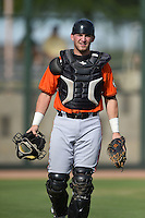 San Francisco Giants catcher Tyler Ross (10) during an Instructional League game against the Oakland Athletics on October 15, 2014 at Papago Park Baseball Complex in Phoenix, Arizona.  (Mike Janes/Four Seam Images)