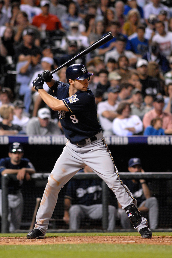 06 June 08: Milwuakee Brewers outfielder Ryan Braun during a plate appearance against the Colorado Rockies. The Rockies defeated the Brewers 6-4 at Coors Field in Denver, Colorado on June 6, 2008. For EDITORIAL use only