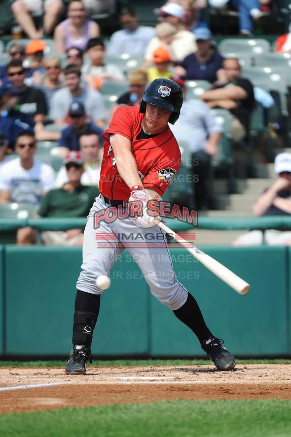 Erie SeaWolves infielder James Robbins (21) during game against the Trenton Thunder at ARM & HAMMER Park on May 29 2013 in Trenton, NJ.  Trenton defeated Erie 3-1.  Tomasso DeRosa/Four Seam Images