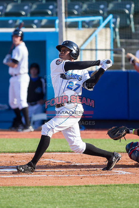 Bralin Jackson (27) of the Hudson Valley Renegades follows through on his swing against the Brooklyn Cyclones at Dutchess Stadium on June 18, 2014 in Wappingers Falls, New York.  The Cyclones defeated the Renegades 4-3 in 10 innings.  (Brian Westerholt/Four Seam Images)