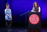 Jen Silverman and Julia Jordan on stage during the 9th Annual LILLY Awards at the Minetta Lane Theatre on May 21,2018 in New York City.