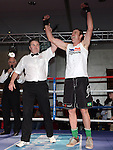 David Cunningham St Feckins celebrates after beating Cathal Lynch Clogherhead Dreadnots in the White Collar Boxing in City North Hotel. Photo:Colin Bell/pressphotos.ie
