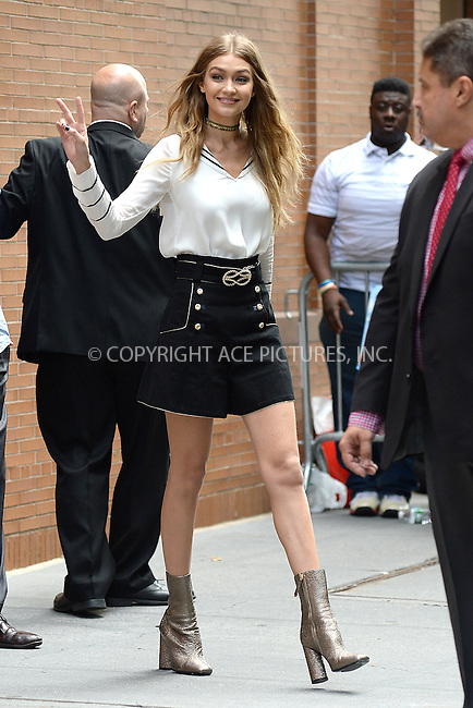 www.acepixs.com<br /> September 9, 2016 New York City<br /> <br /> Gigi Hadid made an appearance at The View on September 9, 2016 in New York City.<br /> <br /> Credit: Kristin Callahan/ACE Pictures<br /> <br /> <br /> Tel: (646) 769 0430<br /> e-mail: info@acepixs.com<br /> web: http://www.acepixs.com