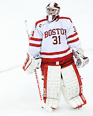 Sean Maguire (BU - 31) - The Boston University Terriers defeated the visiting University of Connecticut Huskies 4-2 (EN) on Saturday, October 24, 2015, at Agganis Arena in Boston, Massachusetts.