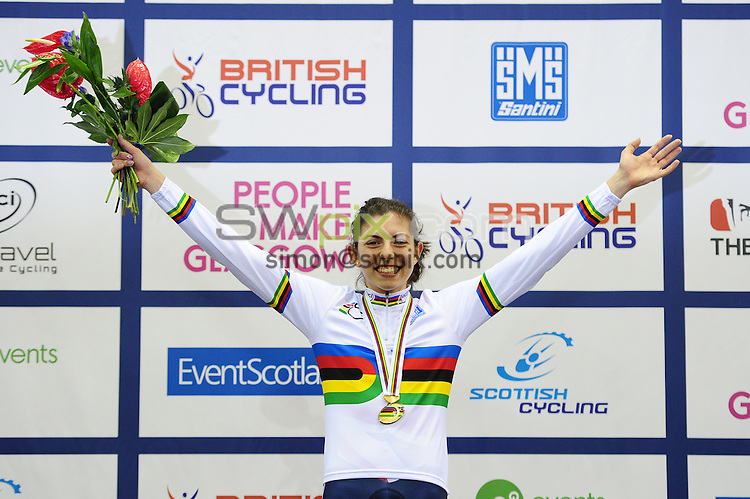 PICTURE BY ALEX BROADWAY/SWPIX.COM - Cycling - 2013 UCI Juniors Track World Championships - Day 4 - Sir Chris Hoy Velodrome, Glasgow, Scotland - 10/08/13 - Dannielle Khan of Great Britain celebrates on the podium after winning the Women's Sprint final.