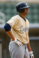 Chris Nash (26) waits for his turn in the cage during bating practice at Fieldcrest Cannon Stadium in Kannapolis, NC, Saturday, April 26, 2008.