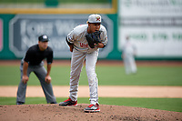Wisconsin Timber Rattlers relief pitcher Nattino Diplan (33) looks in for the sign during a game against the Fort Wayne TinCaps on May 10, 2017 at Parkview Field in Fort Wayne, Indiana.  Fort Wayne defeated Wisconsin 3-2.  (Mike Janes/Four Seam Images)