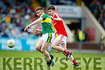 Barry Mahony Kerry in action against Liam Jackson Louth in the All Ireland Minor Football Quarter Finals at O'Moore Park, Portlaoise on Saturday.