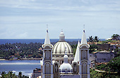 Ilheus, Bahia State, Brazil.  Typical colonial church, the sea in the background.