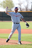 Former major league pitcher Dave Burba pitches to campers during the Cleveland Indians Fantasy camp at the Goodyear Training Complex in Goodyear, Arizona;  January 18, 2011.  Photo By Mike Janes/Four Seam Images
