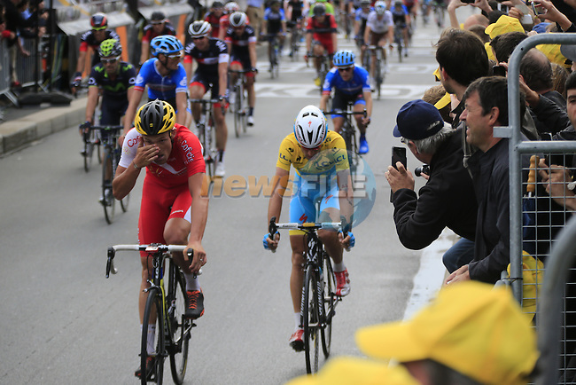 Yellow Jersey leader Vincenzo Nibali (ITA) Astana crosses the finish line of Stage 4 of the 2014 Tour de France running 163.5km from Le Touquet to Lille. 8th July 2014.<br /> Picture: Eoin Clarke www.newsfile.ie
