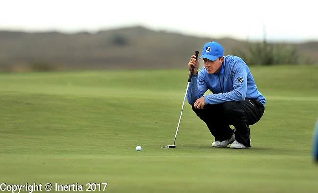 VALENTINE, NE - OCTOBER 2: Nate Vontz from Creighton University lines up his putt on the first hole during the SDSU Invite Monday at The Prairie Club in Valentine, NE. (Photo by Dave Eggen/Inertia)
