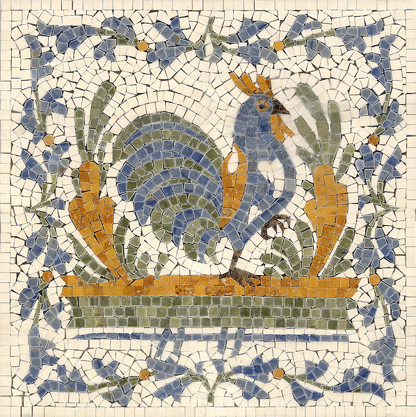 "16"" x 16"" Stylized Chicken mosaic in Blue Macauba, Ivory Cream, Verde Luna, Persian Gold, Emperador Dark"