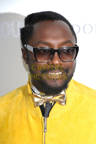 Will.I.Am (William James Adams, Jr.) of Black Eyed Peas.Women Of The Year 2012 - Glamour Awards, Berkeley Square, London, England..29th May 2012.headshot portrait gold bow tie beard facial hair yellow glasses  .CAP/PL.©Phil Loftus/Capital Pictures.