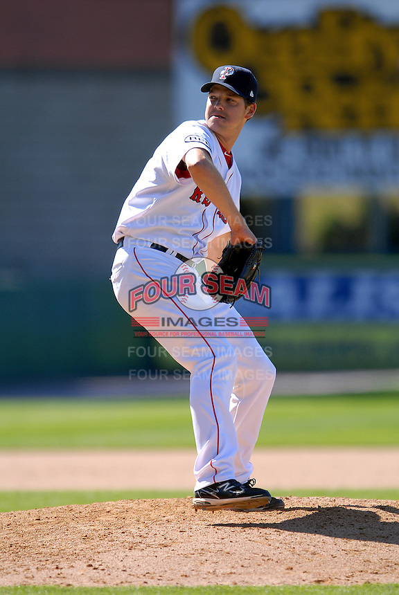 Pitcher Rich Hill #36 of the Pawtucket Red Sox during a game versus the Toledo Mud Hens on May 1, 2011 at McCoy Stadium in Pawtucket, Rhode Island. Photo by Ken Babbitt /Four Seam Images