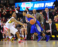 Nick Faust of the Terrapins plays tough defense. Maryland defeated Duke 81-83 at the Comcast Center in College Park, MD on Saturday, February 16, 2013. Alan P. Santos/DC Sports Box