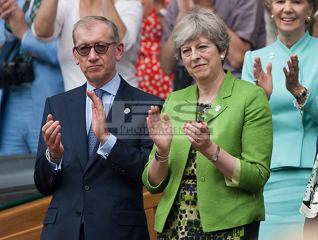 Theresa May and her husband Phillip in the Royal Box during the Mens Final, Wimbledon Championships 2017, Day 13, Mens Final, All England Lawn Tennis & Croquet Club, Church Rd, London, United Kingdom - 16th July 2017
