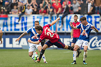 SADAR, PAMPLONA, SPAIN: La Liga de Fútbol, ​​CA Osasuna vs Tenerife; Lucas Torró, player of Osasuna, falls before several players of Tenerife, causing a foul during the game of League 123, on April 1, 2018