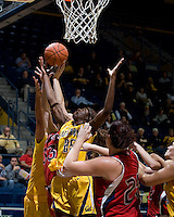 Gennifer Brandon of California tries to rebound the ball during the game against St. Mary's at Haas Pavilion in Berkeley, California on November 15th, 2012.  California defeated St. Mary's, 89-41.