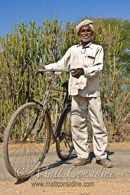I met this man on a quiet rural road in Rajasthan, India. He was happy to stop and have his photo taken.<br /> (Photo by Matt Considine - Images of Asia Collection)
