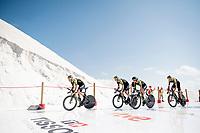 Team Mitchelton-Scott off the start ramp during their recon-run of the first stage (TTT)<br /> <br /> Stage 1 (TTT): Salinas de Torrevieja to Torrevieja (13.4km)<br /> La Vuelta 2019<br /> <br /> ©kramon
