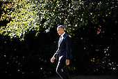 """United States President Obama walks from the Oval Office to deliver a statement on Ebola from the South Lawn of the White House in Washington, D.C. on Tuesday, October 28, 2014. In his remarks the President said America """"cannot shy away"""" from leadership.  He then departed for Milwaukee for campaign events, and is scheduled to return tonight.<br /> Credit: Olivier Douliery / Pool via CNP"""