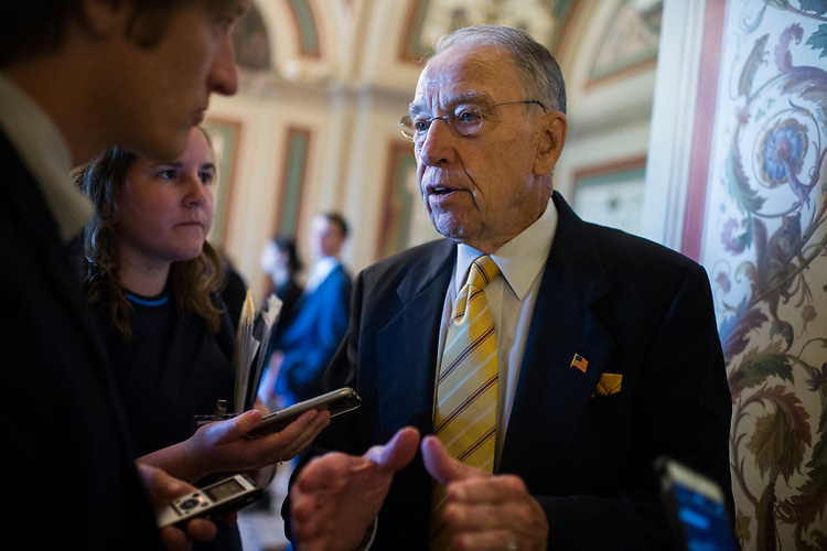 UNITED STATES - JULY 10: Sen. Charles Grassley, R-Iowa, talks with reporters after the Senate Policy luncheons in the Capitol on July 10, 2018. (Photo By Tom Williams/CQ Roll Call)