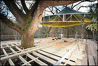 BNPS.co.uk (01202 558833)<br /> Pic: Mallinson/BNPS<br /> <br /> Work in progress...<br /> <br /> Release your inner Tarzan...in Britain's poshest treehouse.<br /> <br /> A luxury glamping site in deepest Dorset has created a luxurious treehouse that comes with its own sauna, hot tub, rotating fireplace and pizza oven.<br /> <br /> The Woodsman's Treehouse is perched 30ft from the ground on long stilts and has two floors. <br /> <br /> It has a spiral staircase and a stainless steel slide for quick access to the ground and can be rented out from &pound;390 a night. <br /> <br /> It is located at the Crafty Camping glamping site at Holditch in west Dorset.