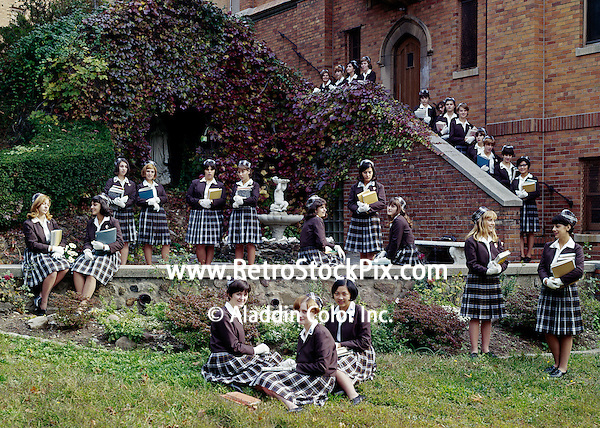 St. John Villa Academy, New York. Group of teenage school girls in uniform.