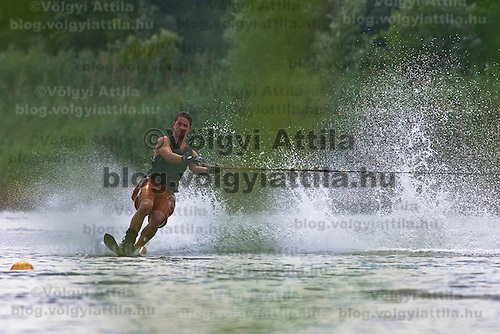 Competitor Zoltan Sebok JR practices during the training day of an international slalom water ski competition in Kal, Hungary. Friday, 07. August 2009. ATTILA VOLGYI