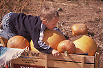 CHILD HOLDS ON TO WAGON AND PUMPKINS