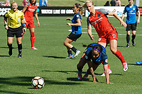 Kansas City, MO - Saturday May 13, 2017:  Sydney Leroux and Amandine Henry during a regular season National Women's Soccer League (NWSL) match between FC Kansas City and the Portland Thorns FC at Children's Mercy Victory Field.