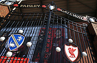 May 4th 2020, Liverpool, United Kingdom; Anfield stadium during the suspension of the Premier League due to the Covid-19 virus pandemic; the locked Paisley gates outside the deserted entrance to the Kop end of the stadium