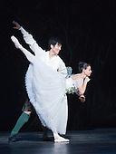 Yanela Pinera as The Sylphide and Qi Huan as James. Dress rehearsal of La Sylphide (some parts in partial costume). Australia's Queensland Ballet makes its London Coliseum debut with La Sylphide, the August Bournonville ballet is choreographed by Peter Schaufuss. Performances at the Coliseum from 5 to 8 August 2015. Photo credit: Bettina Strenske