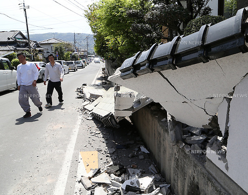 Kumamoto, Japan - April 15 : A wall was broken by Kumamoto Earthquake last night at Mashiki-machi, Kumamoto, Japan. The photograph was taken on April 15th, 2016. (Photo by Chiaki Kodama/AFLO)