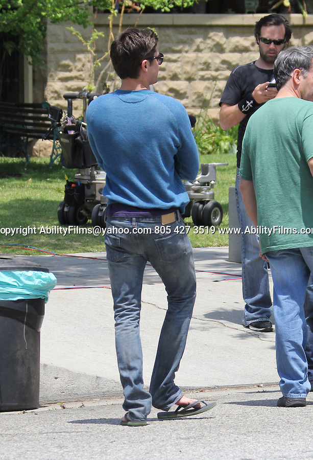 May 8th 2013<br /> <br /> Zac Efron dressed as a college fraternity Delta House  while filming the movie Townies in Los Angeles.<br /> <br /> AbilityFilms@yahoo.com<br /> 805 427 3519<br /> www.AbilityFilms.com