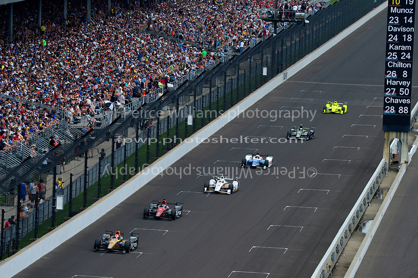 Verizon IndyCar Series<br /> Indianapolis 500 Race<br /> Indianapolis Motor Speedway, Indianapolis, IN USA<br /> Sunday 28 May 2017<br /> James Hinchcliffe, Schmidt Peterson Motorsports Honda, Mikhail Aleshin, Schmidt Peterson Motorsports Honda, Helio Castroneves, Team Penske Chevrolet, Jay Howard, Schmidt Peterson Motorsports Honda, Juan Pablo Montoya, Team Penske Chevrolet, Simon Pagenaud, Team Penske Chevrolet<br /> World Copyright: F. Peirce Williams<br /> LAT Images