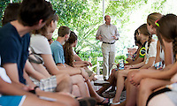 Occidental College first years at Matriculation with President Veitch, Aug. 30, 2011. (Photo by Marc Campos, Oxy College Photographer)