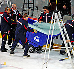 18 December 2008: Bell Centre maintenance crew members remove a shattered glass panel in the third period during a game between the Philadelphia Flyers and the Montreal Canadiens at the Bell Centre in Montreal, Quebec, Canada. The Canadiens, trying to avoid a four-game slide, defeated the Philadelphia Flyers 5-2, thus ending Philadelphia's 5-game winning streak. ***** Editorial Sales Only ***** Mandatory Photo Credit: Ed Wolfstein Photo