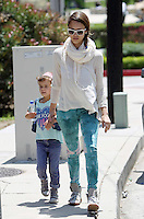 Jessica Alba with daughter Honor Marie, baby Haven and husband Cash Warren at Coldwater Canyon Park in Beverly Hills, California on 12.05.2012.Credit: Vida/face to face/MediaPunch Inc. ***FOR USA ONLY