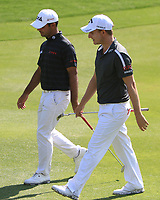 Shubhankar Sharma (IND) and Emiliano Grillo (ARG) in action on the 10th during Round 3 of the Hero Indian Open at the DLF Golf and Country Club on Saturday 10th March 2018.<br />